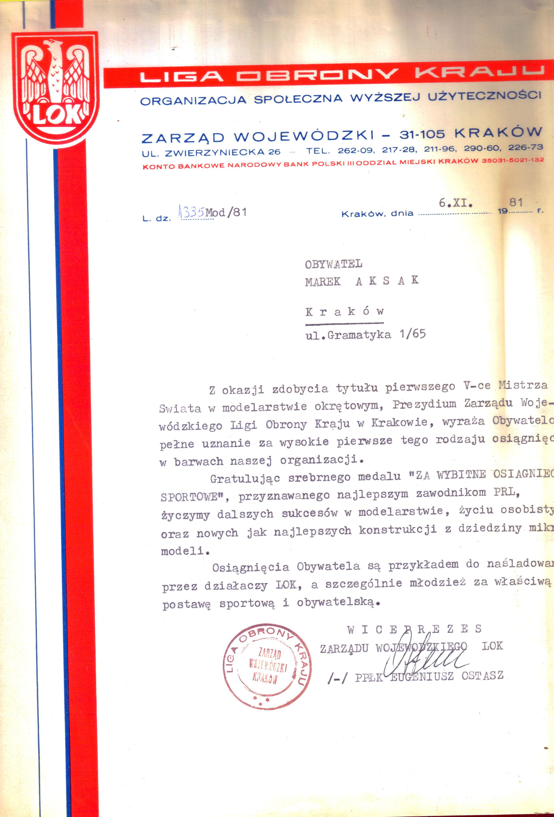 Dyplom 01 za V-ce mistrza LOK