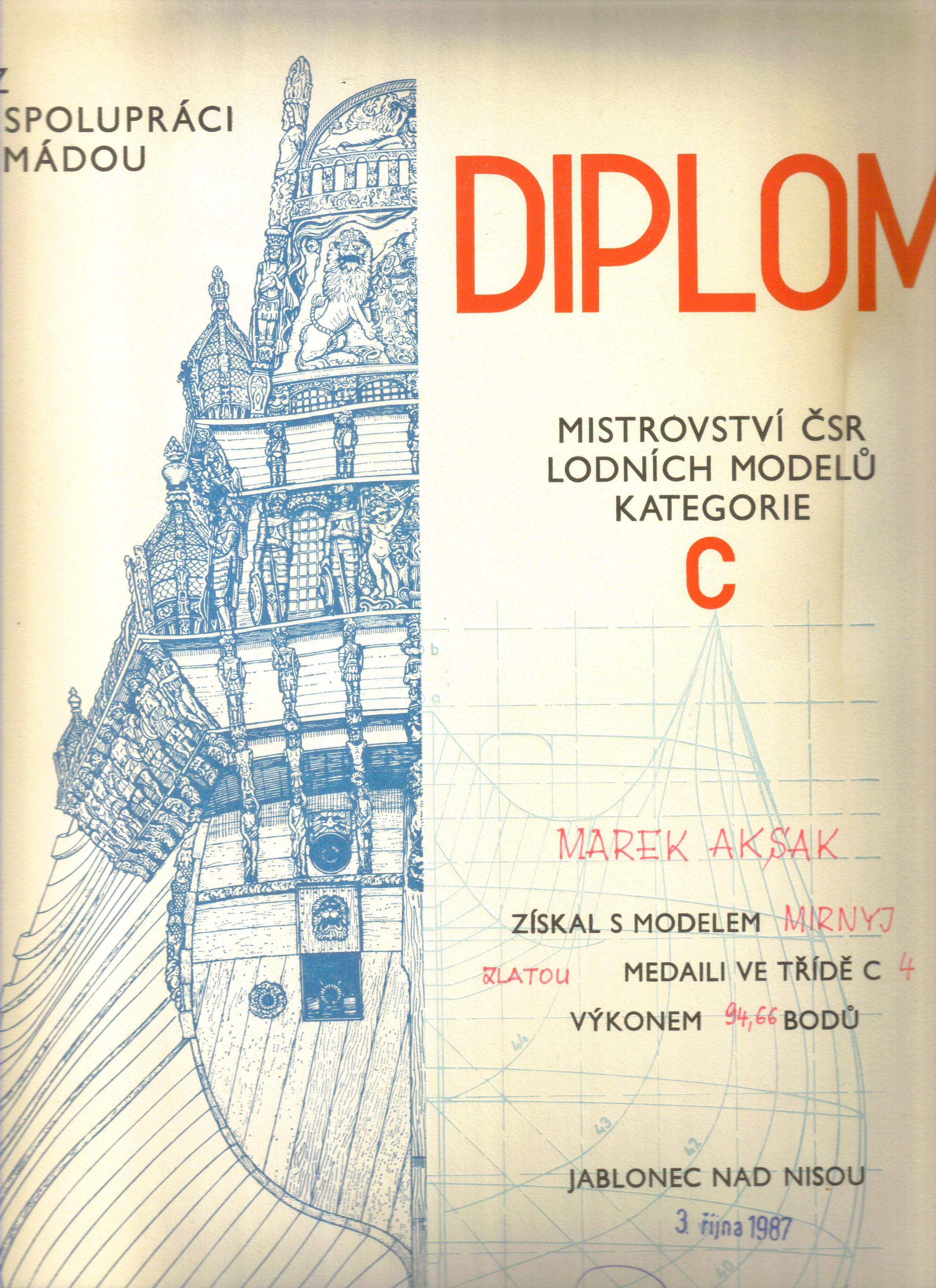 Dyplom 06 Jablonec 1987 Zloto