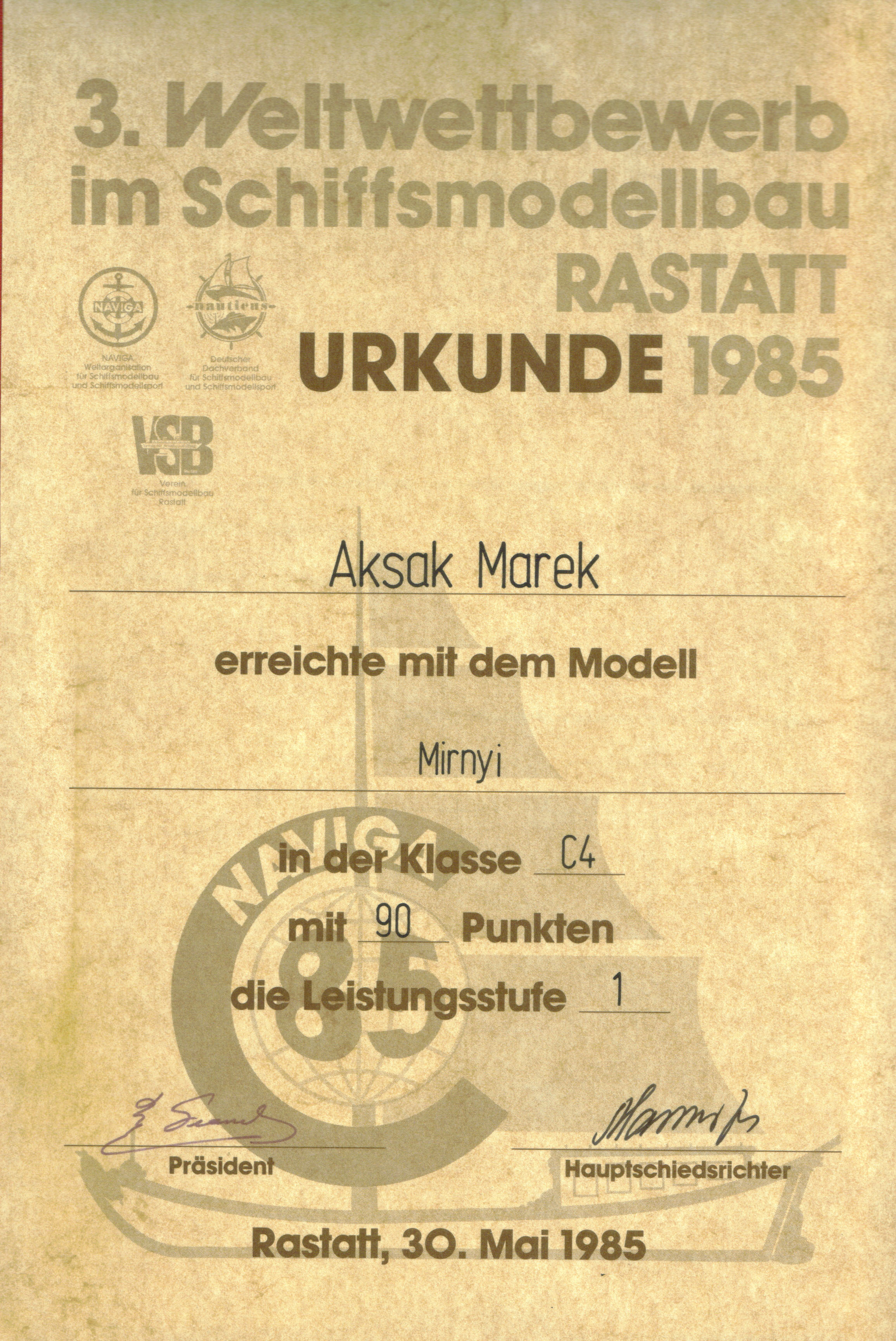 Dyplom 16 Rastatt 1985 Zloto