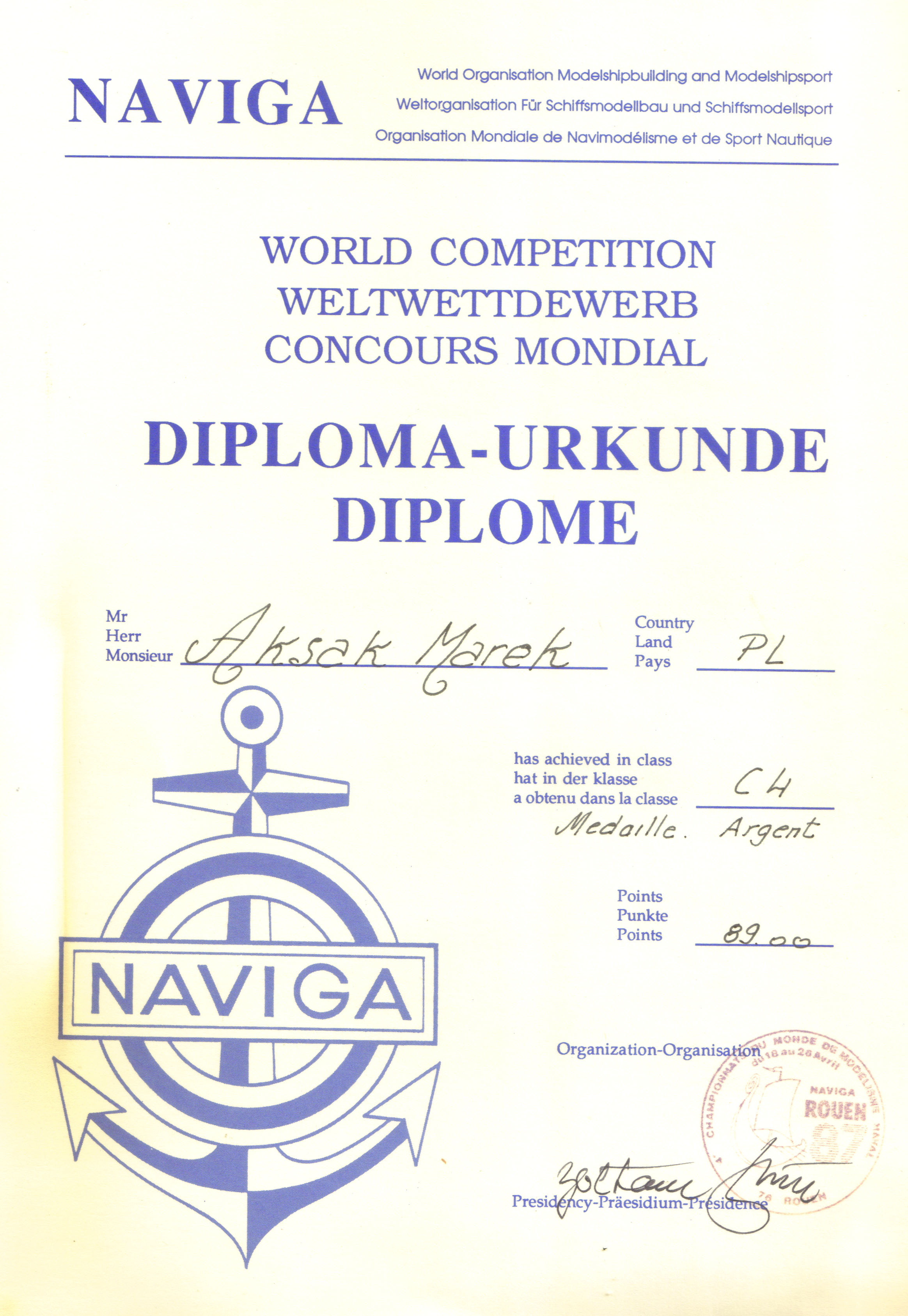 Dyplom 18 Rouen 1987 Srebro