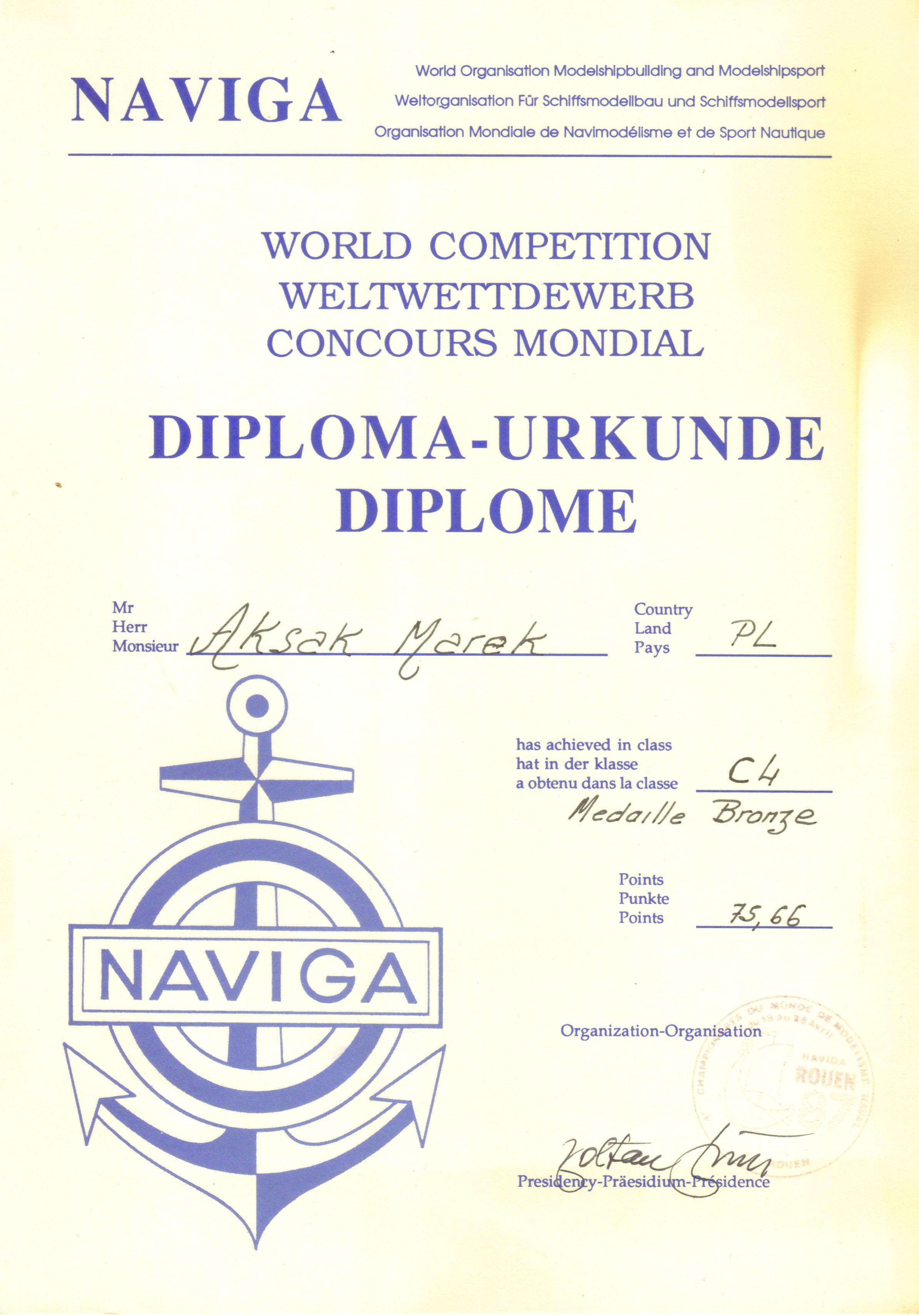 Dyplom 20 Rouen 1987 Bronz